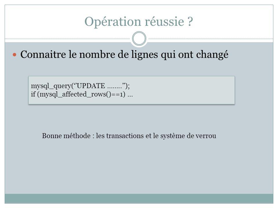 Opération réussie ? Connaitre le nombre de lignes qui ont changé mysql_query(UPDATE ……..); if (mysql_affected_rows()==1) … mysql_query(UPDATE ……..); i