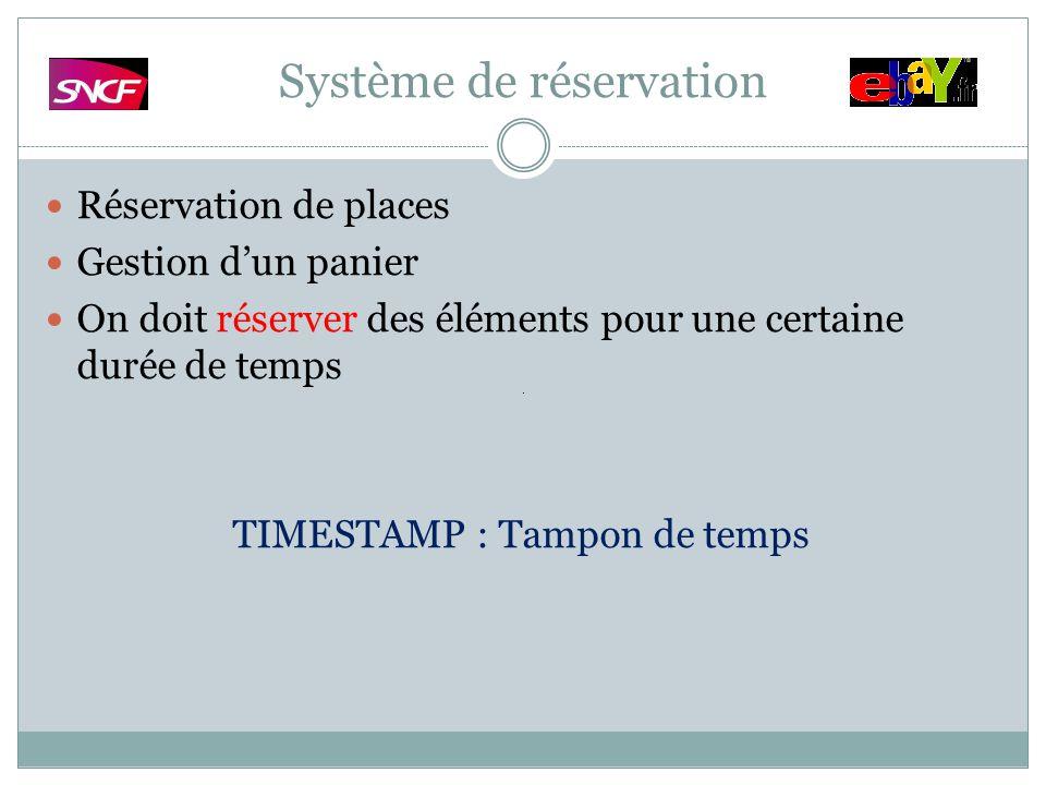 Système de réservation Réservation de places Gestion dun panier On doit réserver des éléments pour une certaine durée de temps TIMESTAMP : Tampon de t