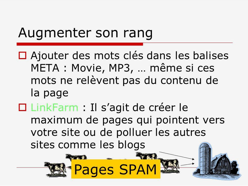 Augmenter son rang Ajouter des mots clés dans les balises META : Movie, MP3, … même si ces mots ne relèvent pas du contenu de la page LinkFarm : Il sagit de créer le maximum de pages qui pointent vers votre site ou de polluer les autres sites comme les blogs Pages SPAM