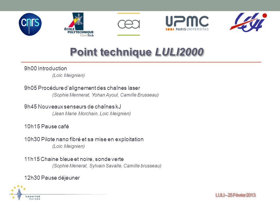 LULI – 25 Février 2013 LULI – 25 Février 2013 Point technique LULI2000 9h00 Introduction (Loïc Meignien) 9h05 Procédure dalignement des chaînes laser