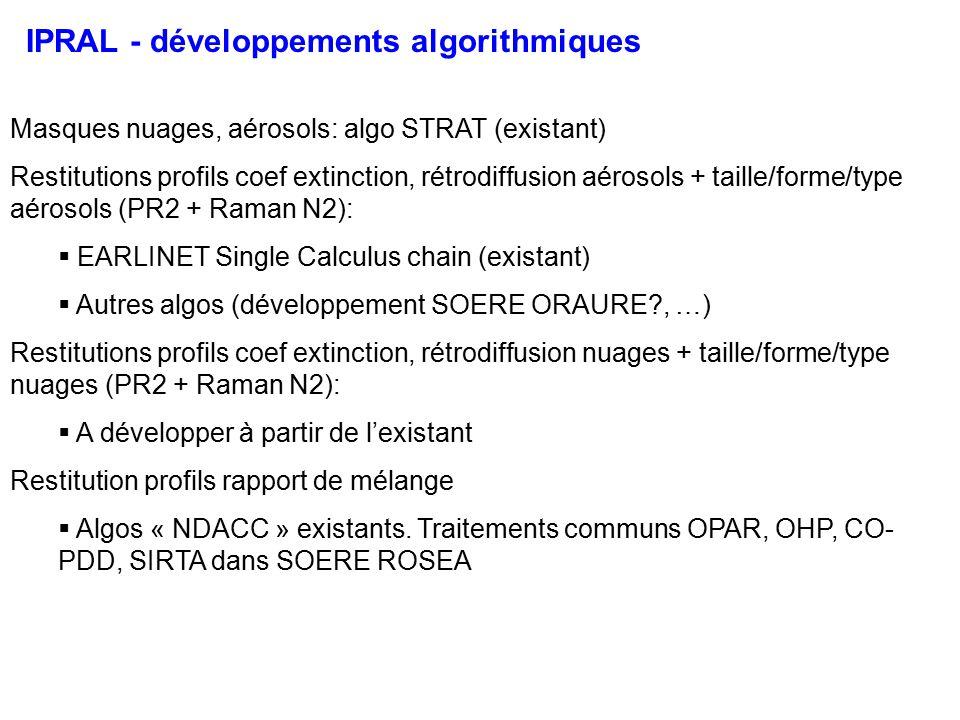 IPRAL - développements algorithmiques Masques nuages, aérosols: algo STRAT (existant) Restitutions profils coef extinction, rétrodiffusion aérosols + taille/forme/type aérosols (PR2 + Raman N2): EARLINET Single Calculus chain (existant) Autres algos (développement SOERE ORAURE?, …) Restitutions profils coef extinction, rétrodiffusion nuages + taille/forme/type nuages (PR2 + Raman N2): A développer à partir de lexistant Restitution profils rapport de mélange Algos « NDACC » existants.