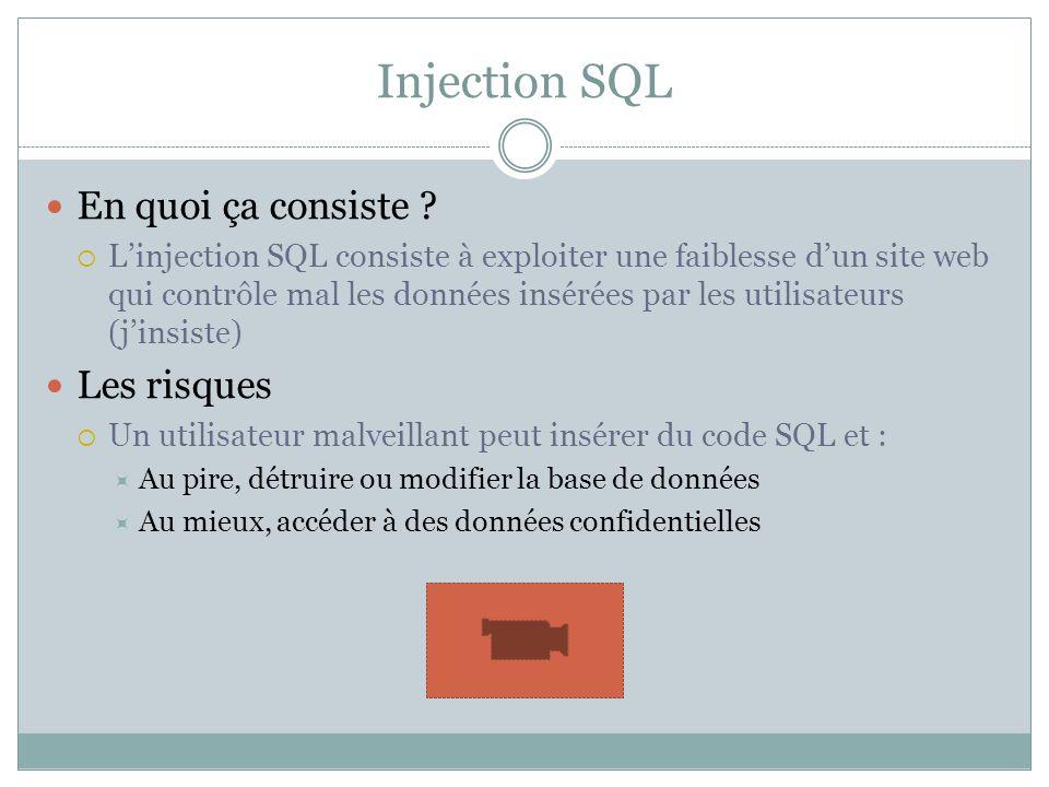 Injection SQL En quoi ça consiste ? Linjection SQL consiste à exploiter une faiblesse dun site web qui contrôle mal les données insérées par les utili