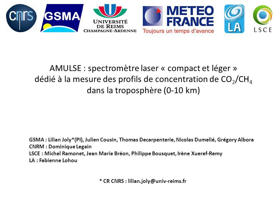 AMULSE : spectromètre laser « compact et léger » dédié à la mesure des profils de concentration de CO 2 /CH 4 dans la troposphère (0-10 km) GSMA : Lil