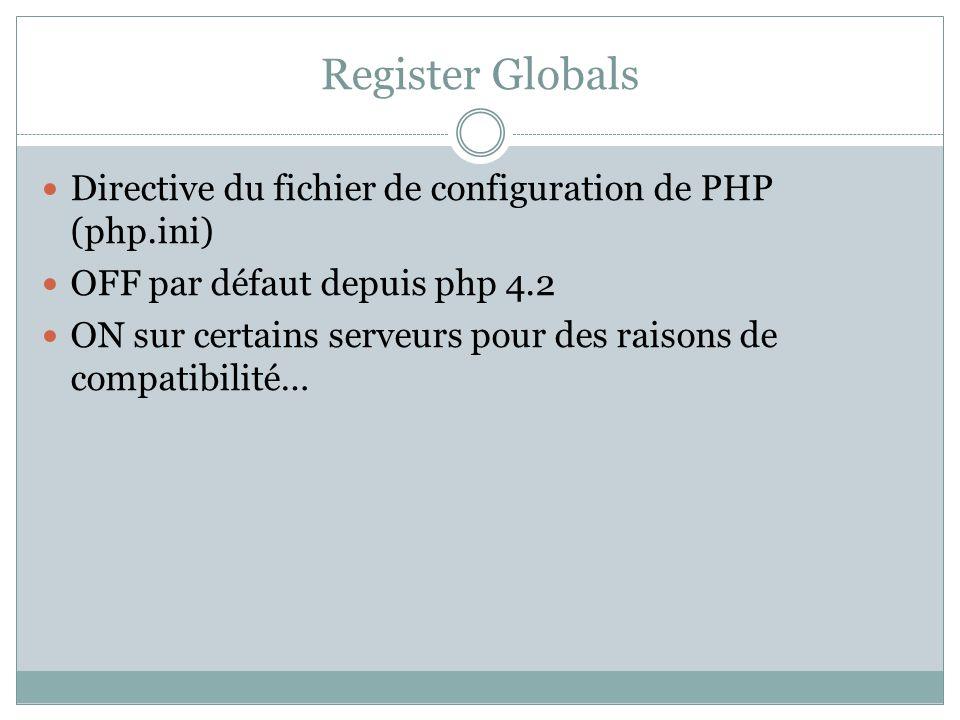 Register Globals Directive du fichier de configuration de PHP (php.ini) OFF par défaut depuis php 4.2 ON sur certains serveurs pour des raisons de compatibilité…