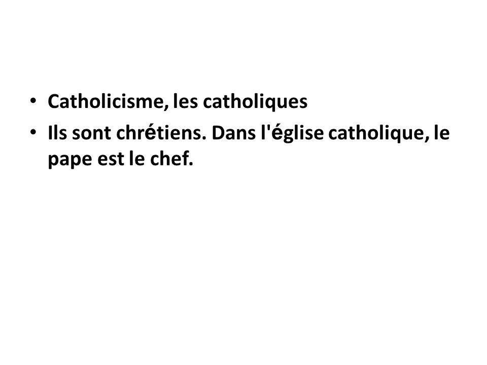 Catholicisme, les catholiques Ils sont chr é tiens. Dans l' é glise catholique, le pape est le chef.