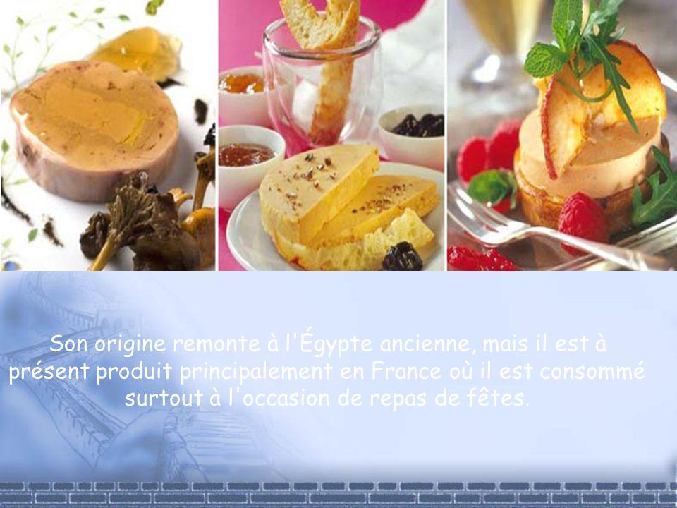 Son origine remonte à l'Égypte ancienne, mais il est à présent produit principalement en France où il est consommé surtout à l'occasion de repas de fê