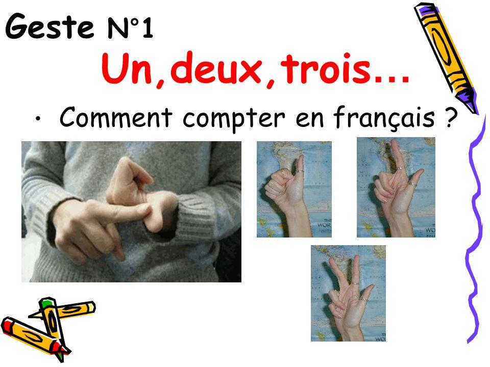 Geste N°1 Comment compter en français ? Un,deux,trois …