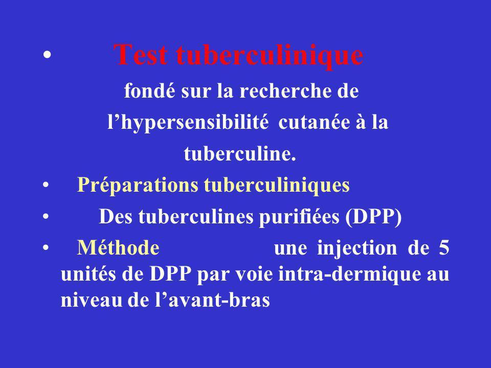Test tuberculinique fondé sur la recherche de lhypersensibilité cutanée à la tuberculine.