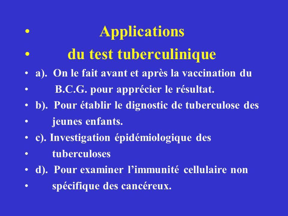 Applications du test tuberculinique a).On le fait avant et après la vaccination du B.C.G.