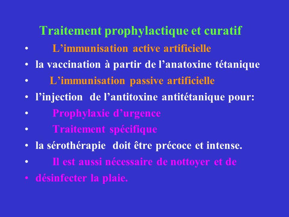 Traitement prophylactique et curatif Limmunisation active artificielle la vaccination à partir de lanatoxine tétanique Limmunisation passive artificie