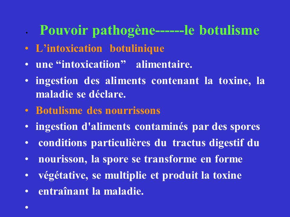 Pouvoir pathogène------le botulisme Lintoxication botulinique une intoxicatiion alimentaire. ingestion des aliments contenant la toxine, la maladie se