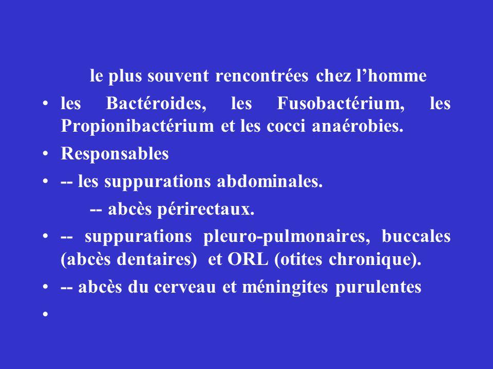 le plus souvent rencontrées chez lhomme les Bactéroides, les Fusobactérium, les Propionibactérium et les cocci anaérobies. Responsables -- les suppura