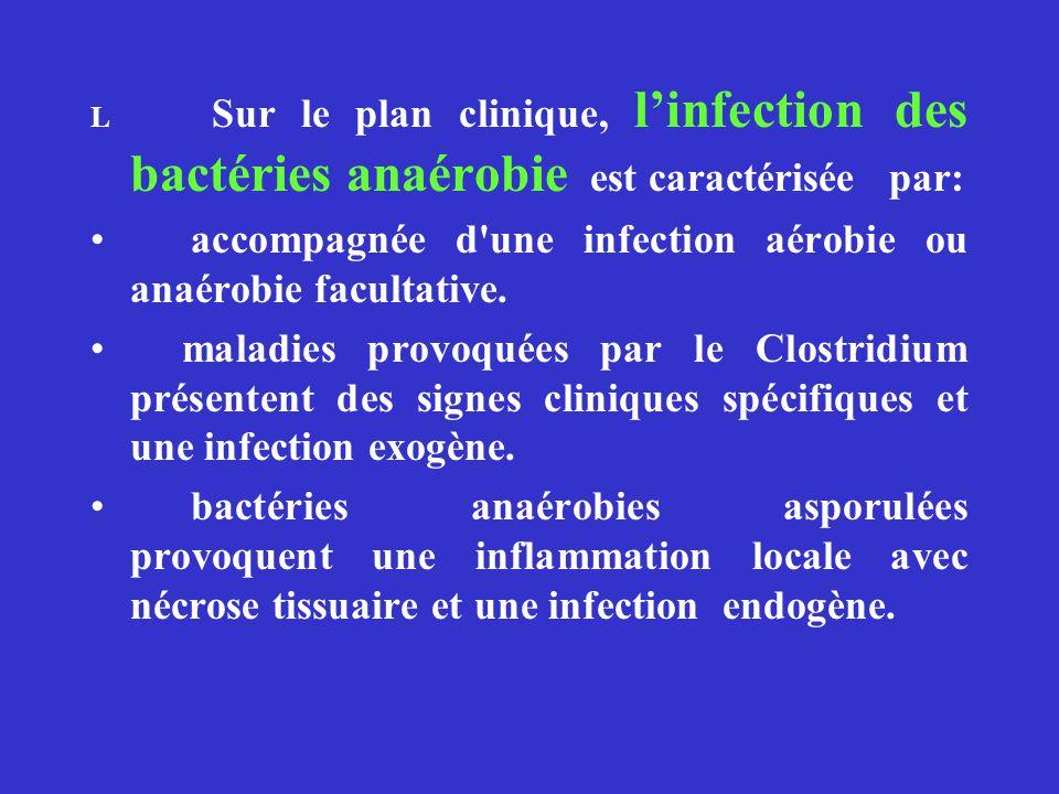 L Sur le plan clinique, linfection des bactéries anaérobie est caractérisée par: accompagnée d'une infection aérobie ou anaérobie facultative. maladie