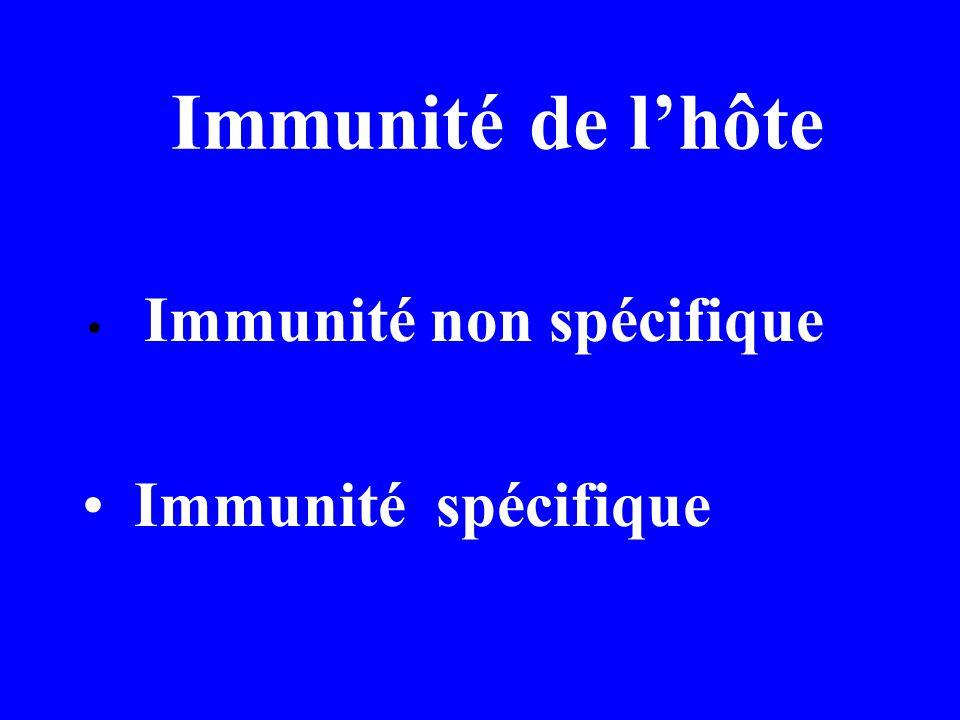 Immunité de lhôte Immunité non spécifique Immunité spécifique