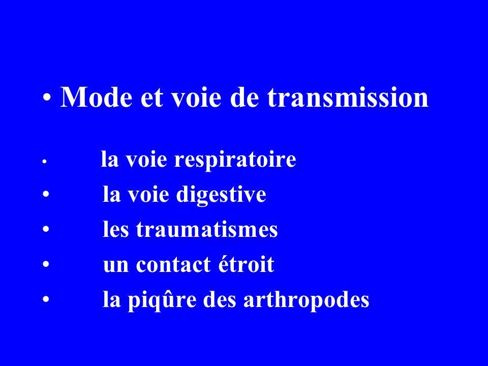 Mode et voie de transmission la voie respiratoire la voie digestive les traumatismes un contact étroit la piqûre des arthropodes