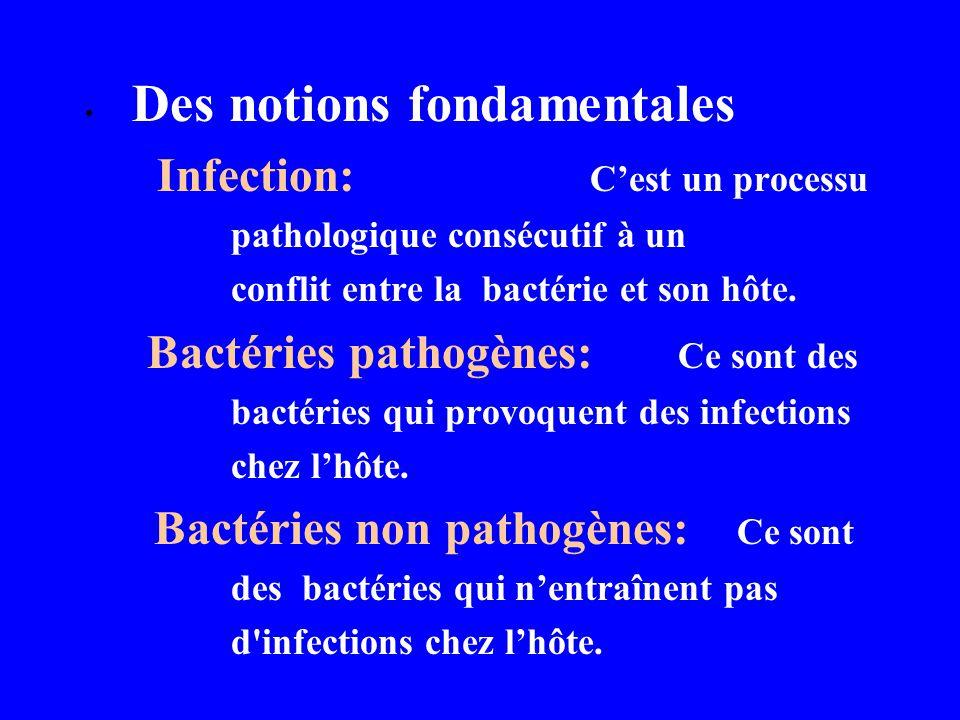 Des notions fondamentales Infection: Cest un processu pathologique consécutif à un conflit entre la bactérie et son hôte. Bactéries pathogènes: Ce son