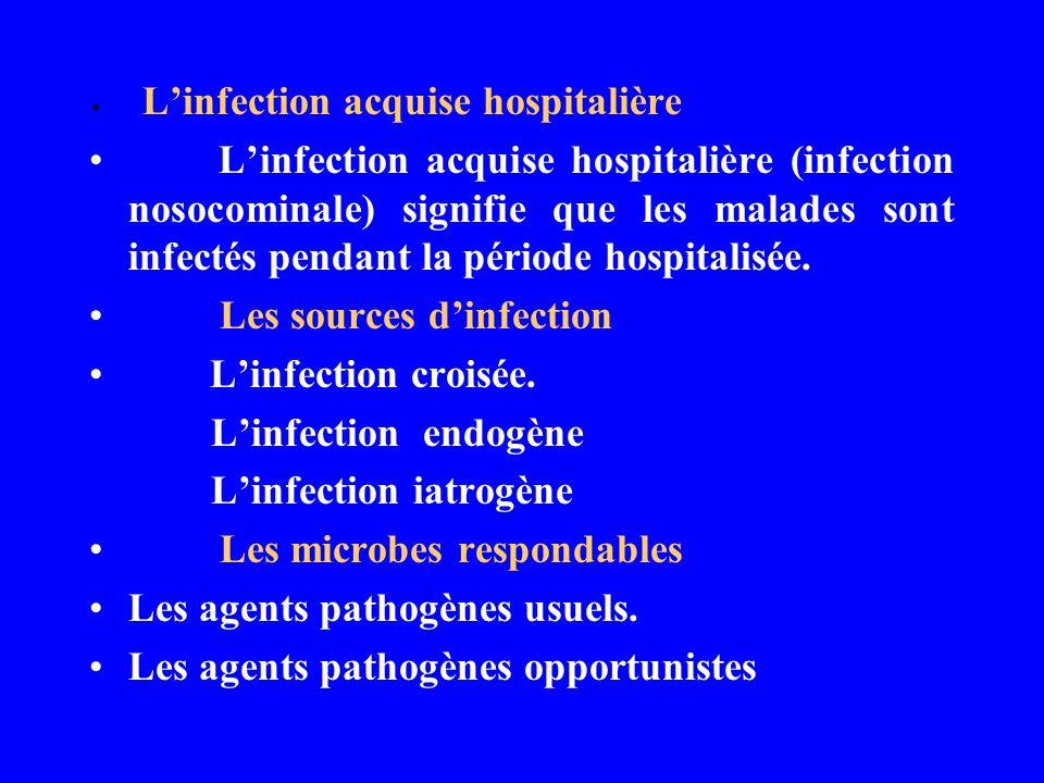 Linfection acquise hospitalière Linfection acquise hospitalière (infection nosocominale) signifie que les malades sont infectés pendant la période hos
