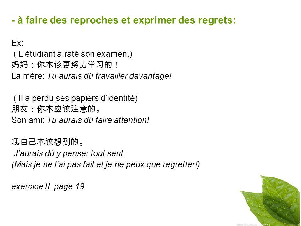 - à faire des reproches et exprimer des regrets: Ex: ( Létudiant a raté son examen.) La mère: Tu aurais dû travailler davantage.