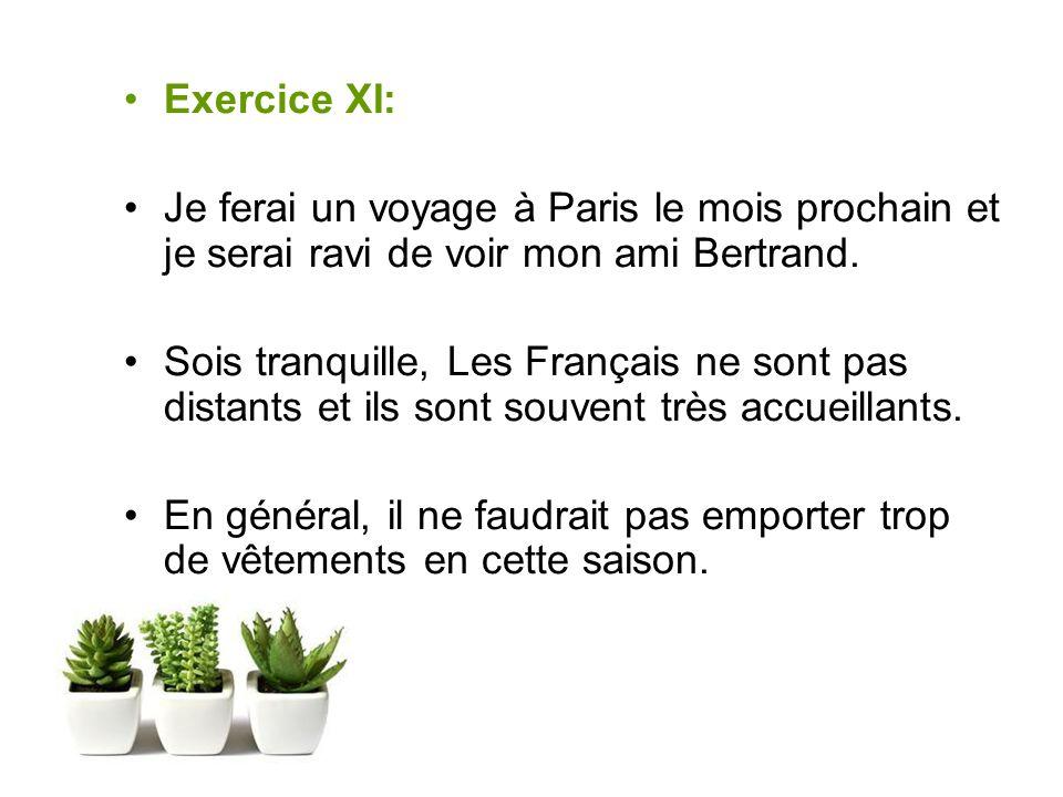 Exercice XI: Je ferai un voyage à Paris le mois prochain et je serai ravi de voir mon ami Bertrand.