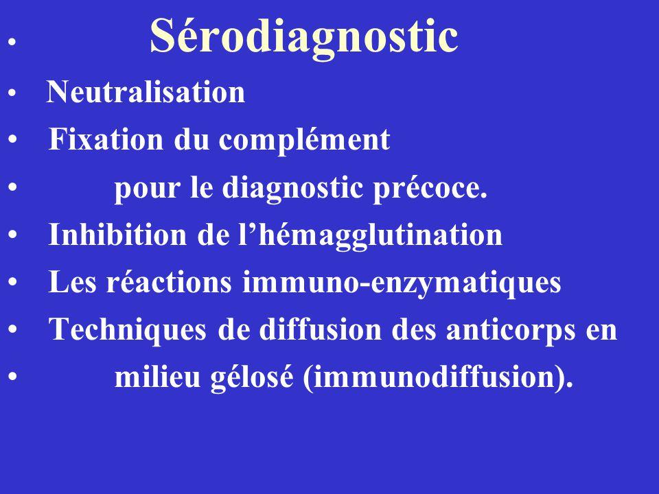 Sérodiagnostic Neutralisation Fixation du complément pour le diagnostic précoce. Inhibition de lhémagglutination Les réactions immuno-enzymatiques Tec