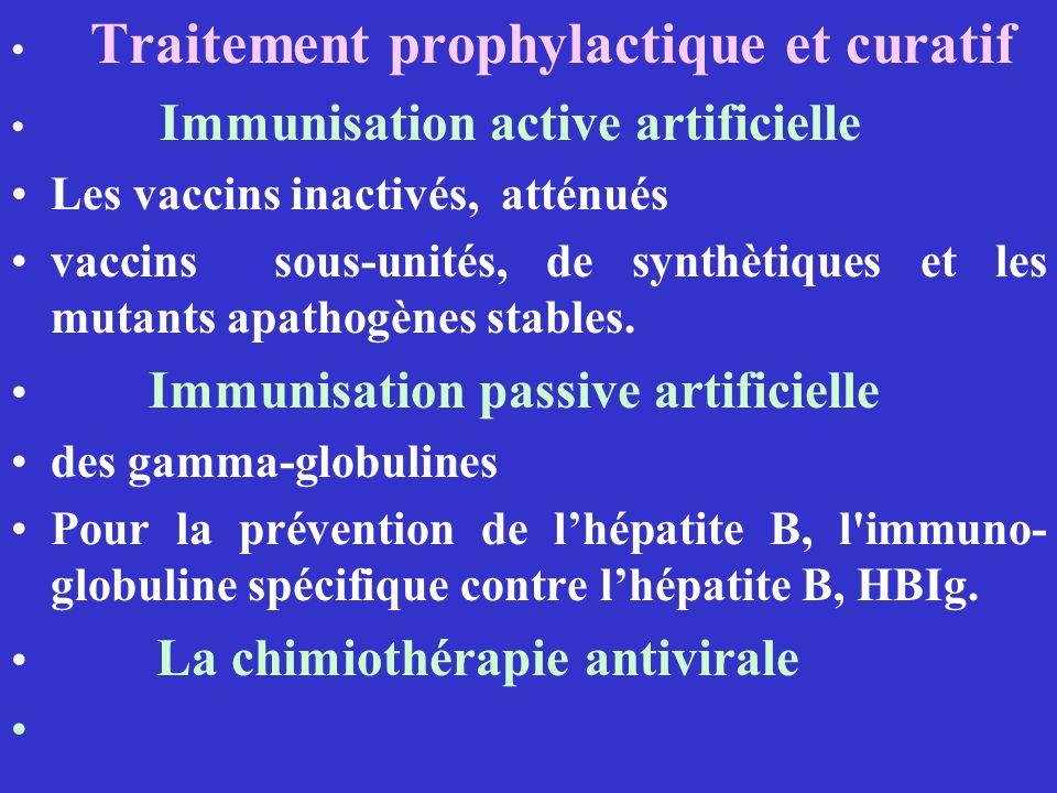 Traitement prophylactique et curatif Immunisation active artificielle Les vaccins inactivés, atténués vaccins sous-unités, de synthètiques et les muta