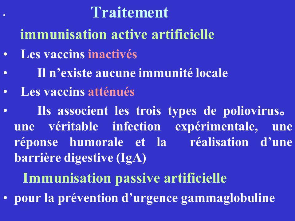 Traitement immunisation active artificielle Les vaccins inactivés Il nexiste aucune immunité locale Les vaccins atténués Ils associent les trois types