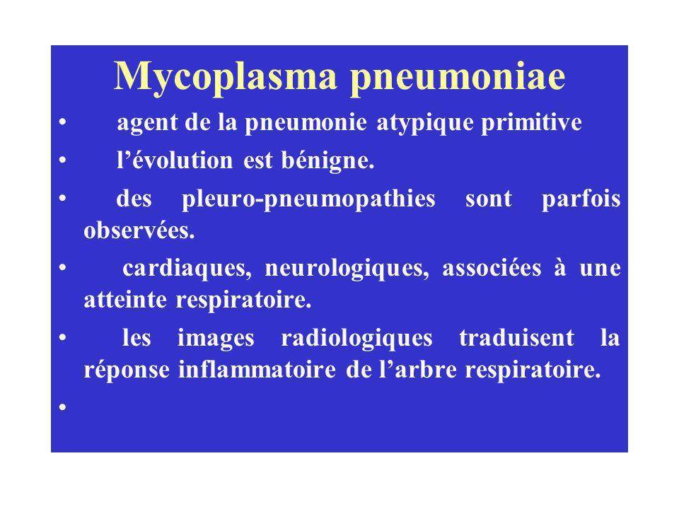 Mycoplasma pneumoniae agent de la pneumonie atypique primitive lévolution est bénigne. des pleuro-pneumopathies sont parfois observées. cardiaques, ne