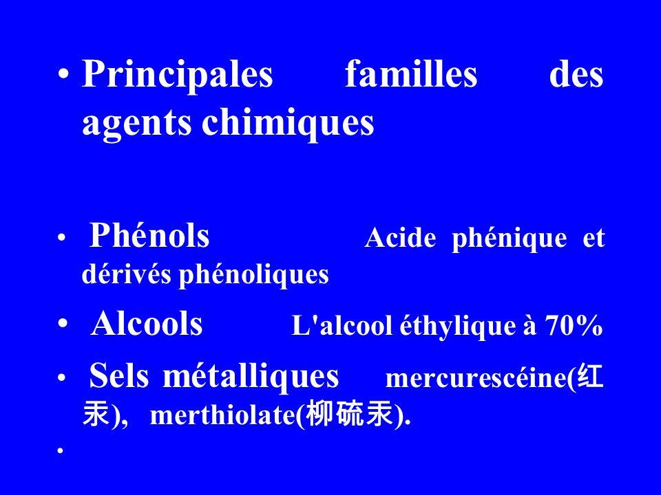 Oxydants: Eau oxygéne, péroxyde acétique, permanganate de potassium, teinture d iode,dérivés chlorés (chlorure de chaux) Agents à la surface active (agents tensio, actifs et mouillants Bromogéramine( ) Aldéhydes Formol, glutaraldéhyde( ) Colorants Violet de gentiane