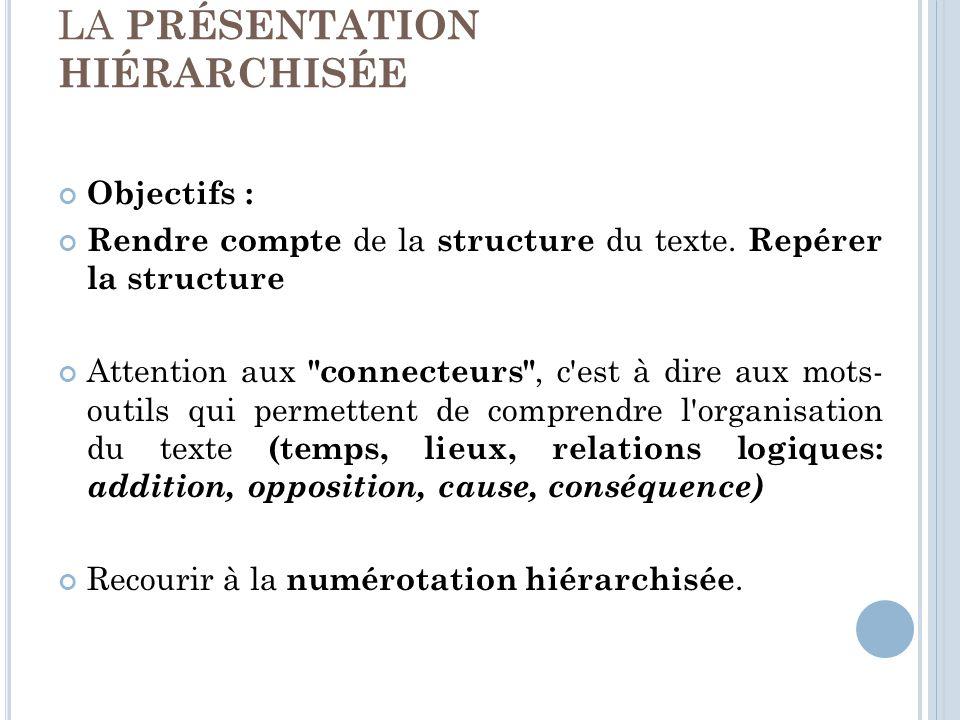LA PRÉSENTATION HIÉRARCHISÉE Objectifs : Rendre compte de la structure du texte.