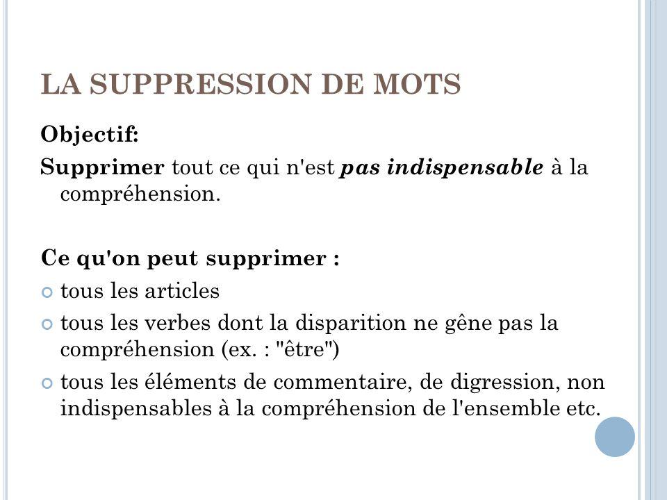 LA SUPPRESSION DE MOTS Objectif: Supprimer tout ce qui n est pas indispensable à la compréhension.