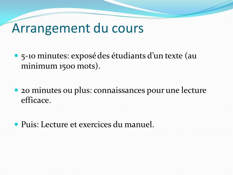 Arrangement du cours 5-10 minutes: exposé des étudiants dun texte (au minimum 1500 mots). 20 minutes ou plus: connaissances pour une lecture efficace.
