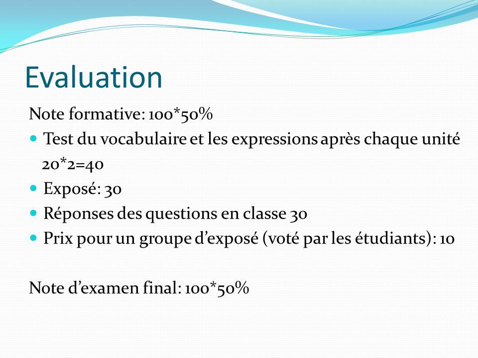 Evaluation Note formative: 100*50% Test du vocabulaire et les expressions après chaque unité 20*2=40 Exposé: 30 Réponses des questions en classe 30 Pr