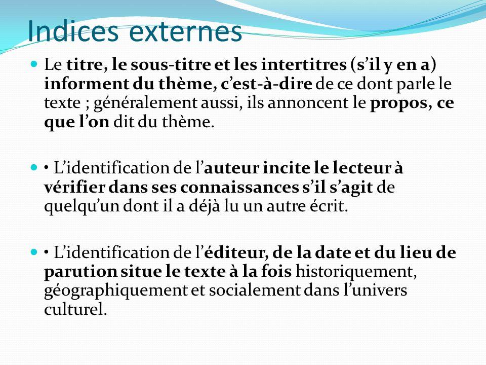 Indices externes Le titre, le sous-titre et les intertitres (sil y en a) informent du thème, cest-à-dire de ce dont parle le texte ; généralement auss