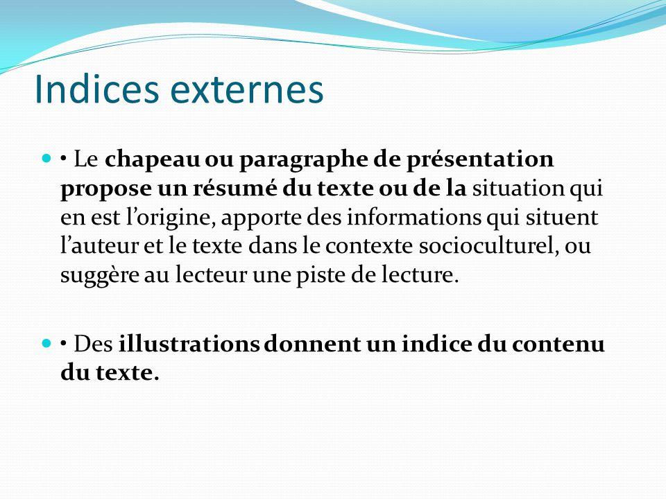 Indices externes Le chapeau ou paragraphe de présentation propose un résumé du texte ou de la situation qui en est lorigine, apporte des informations