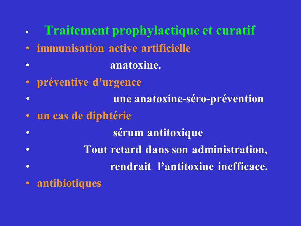 Traitement prophylactique et curatif immunisation active artificielle anatoxine. préventive d'urgence une anatoxine-séro-prévention un cas de diphtéri