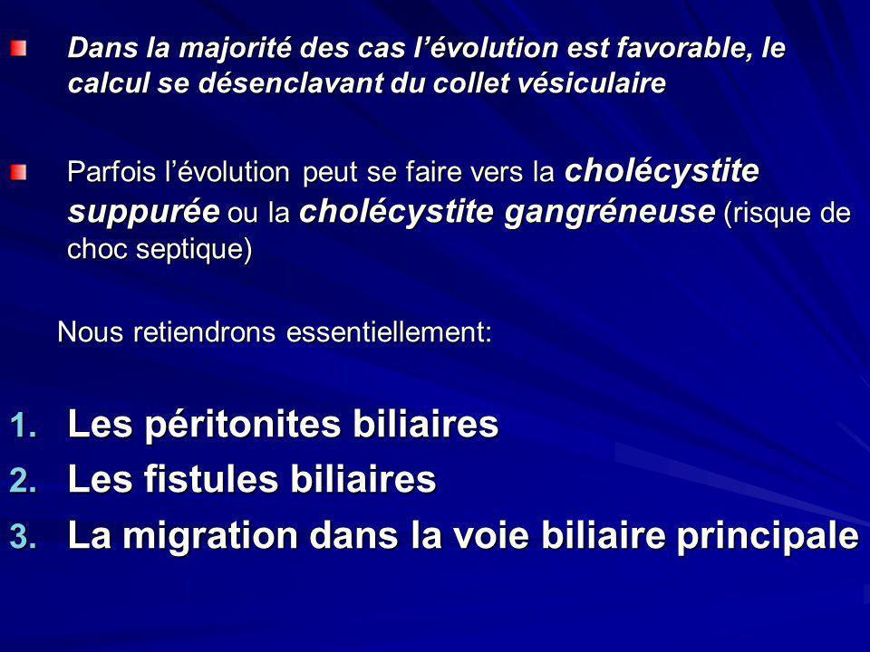 Dans la majorité des cas lévolution est favorable, le calcul se désenclavant du collet vésiculaire Parfois lévolution peut se faire vers la cholécysti