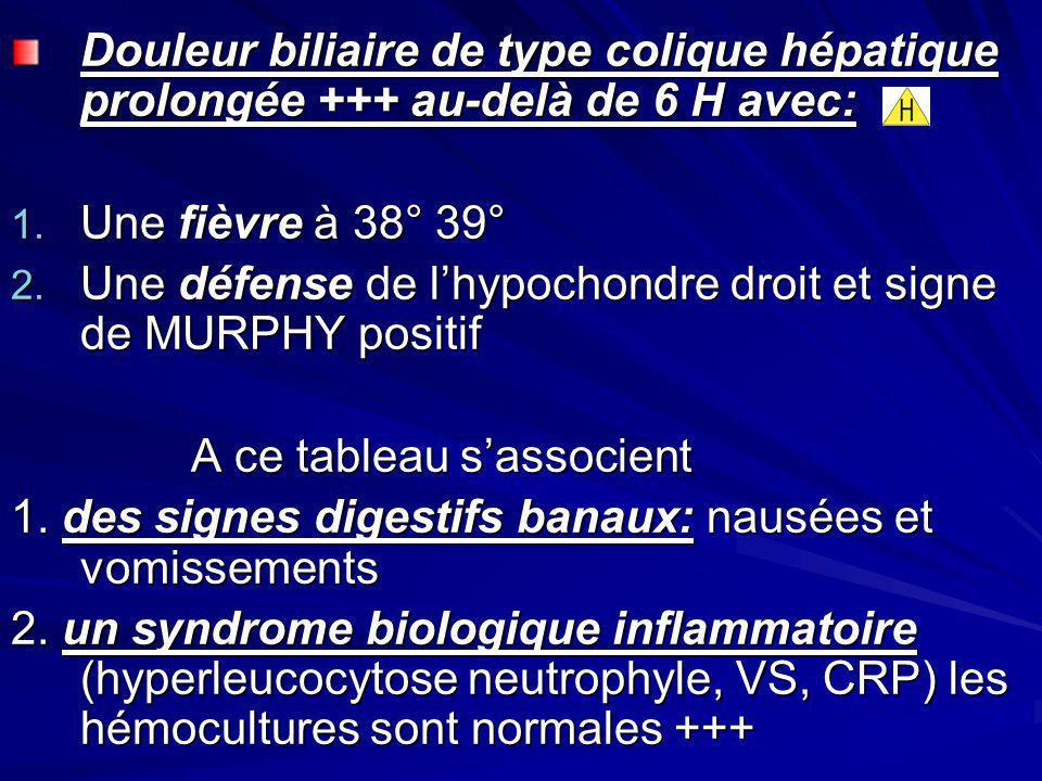 Douleur biliaire de type colique hépatique prolongée +++ au-delà de 6 H avec: 1. Une fièvre à 38° 39° 2. Une défense de lhypochondre droit et signe de