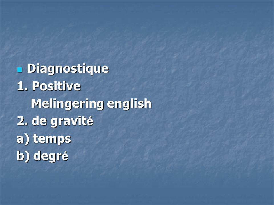 Diagnostique Diagnostique 1. Positive Melingering english Melingering english 2. de gravit é a) temps b) degr é