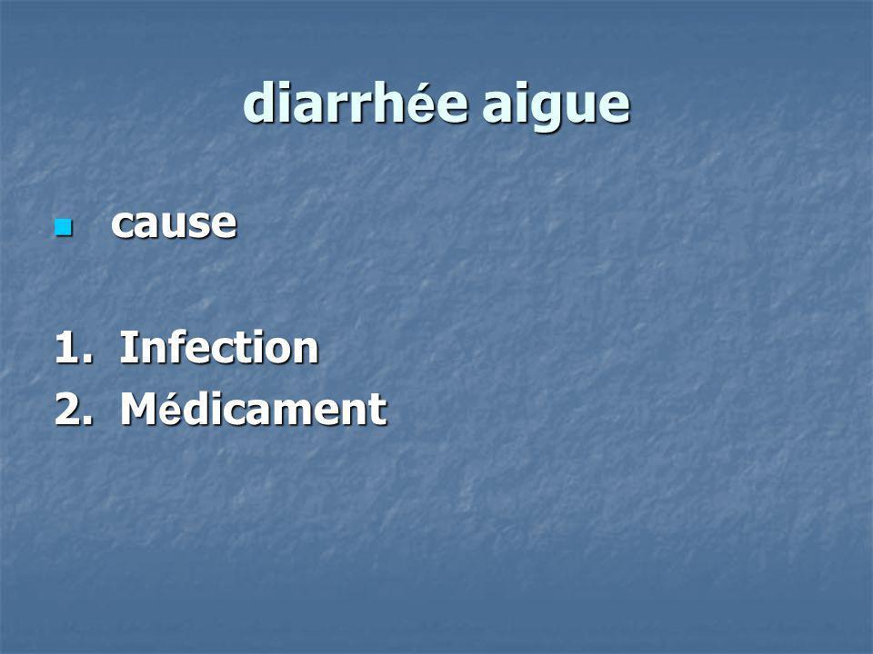 diarrh é e aigue cause cause 1. Infection 2. M é dicament