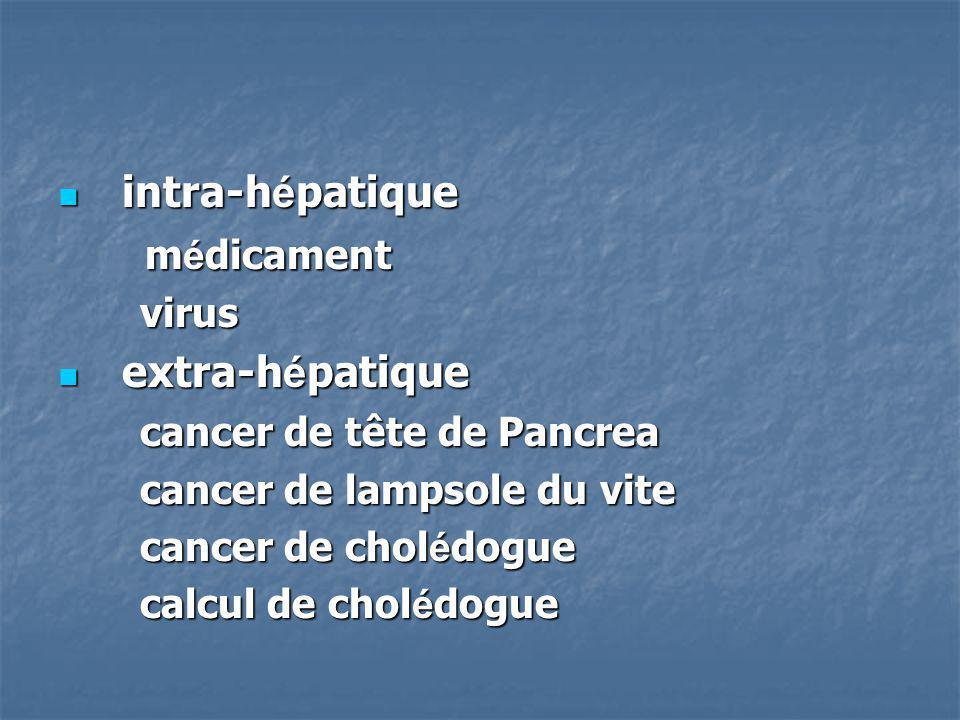 intra-h é patique intra-h é patique m é dicament m é dicament virus virus extra-h é patique extra-h é patique cancer de tête de Pancrea cancer de tête