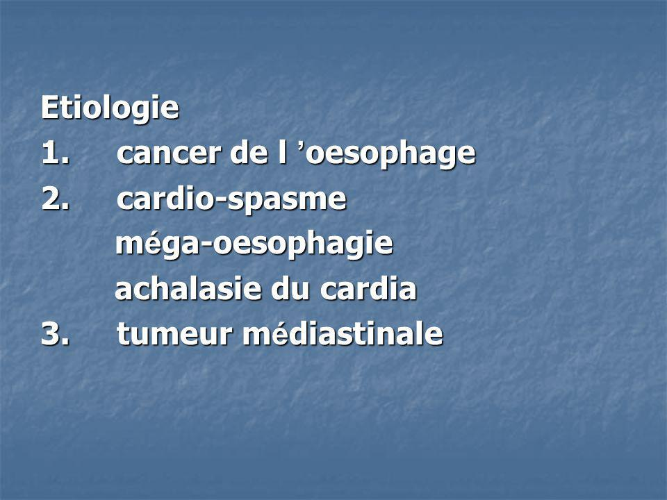 Etiologie 1. cancer de l oesophage 2. cardio-spasme m é ga-oesophagie m é ga-oesophagie achalasie du cardia achalasie du cardia 3. tumeur m é diastina