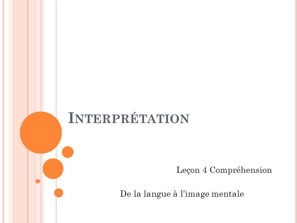 I NTERPRÉTATION Leçon 4 Compréhension De la langue à limage mentale