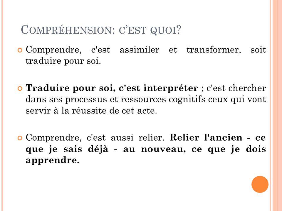 C OMPRÉHENSION : C EST QUOI . Comprendre, c est assimiler et transformer, soit traduire pour soi.