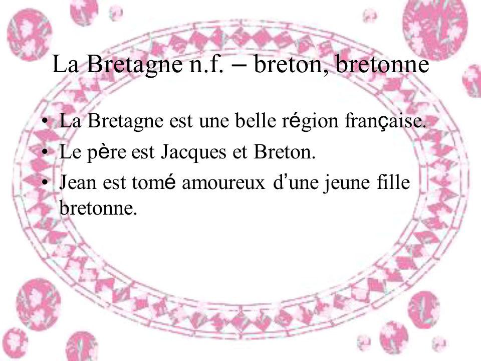 La Bretagne n.f. – breton, bretonne La Bretagne est une belle r é gion fran ç aise. Le p è re est Jacques et Breton. Jean est tom é amoureux d une jeu