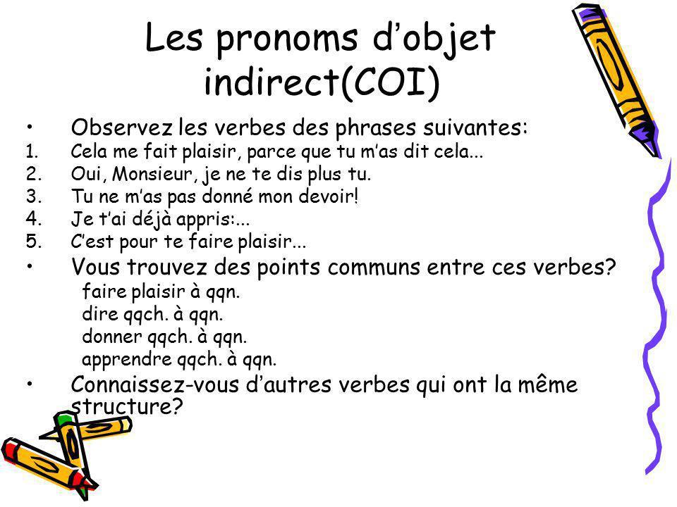 Les pronoms d objet indirect(COI) Observez les verbes des phrases suivantes: 1.Cela me fait plaisir, parce que tu mas dit cela... 2.Oui, Monsieur, je