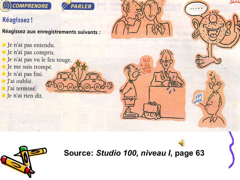 Source: Studio 100, niveau I, page 63