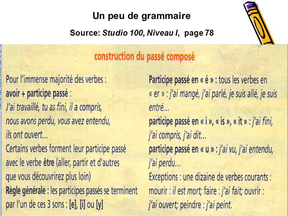 Source: Studio 100, Niveau I, page 78 Un peu de grammaire