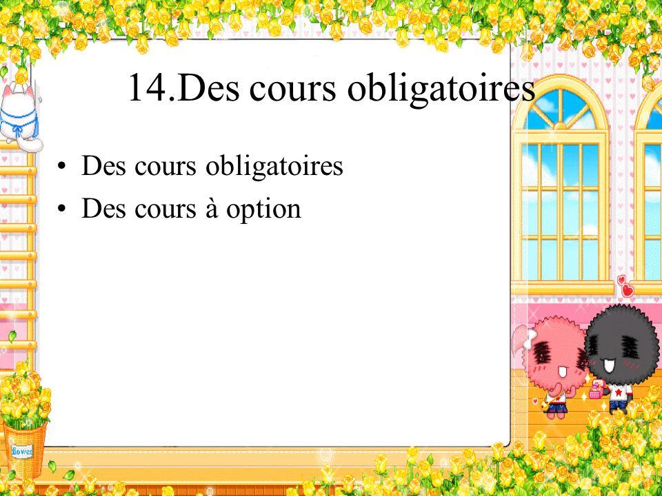 14.Des cours obligatoires Des cours obligatoires Des cours à option