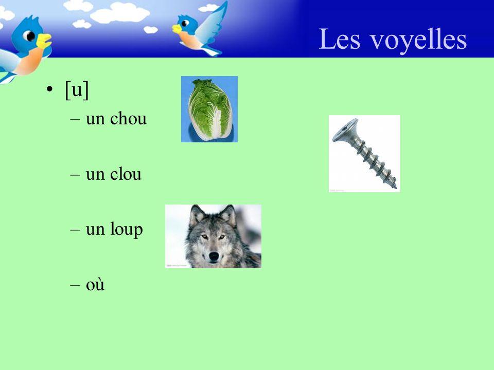 Les voyelles [u] –un chou –un clou –un loup –où