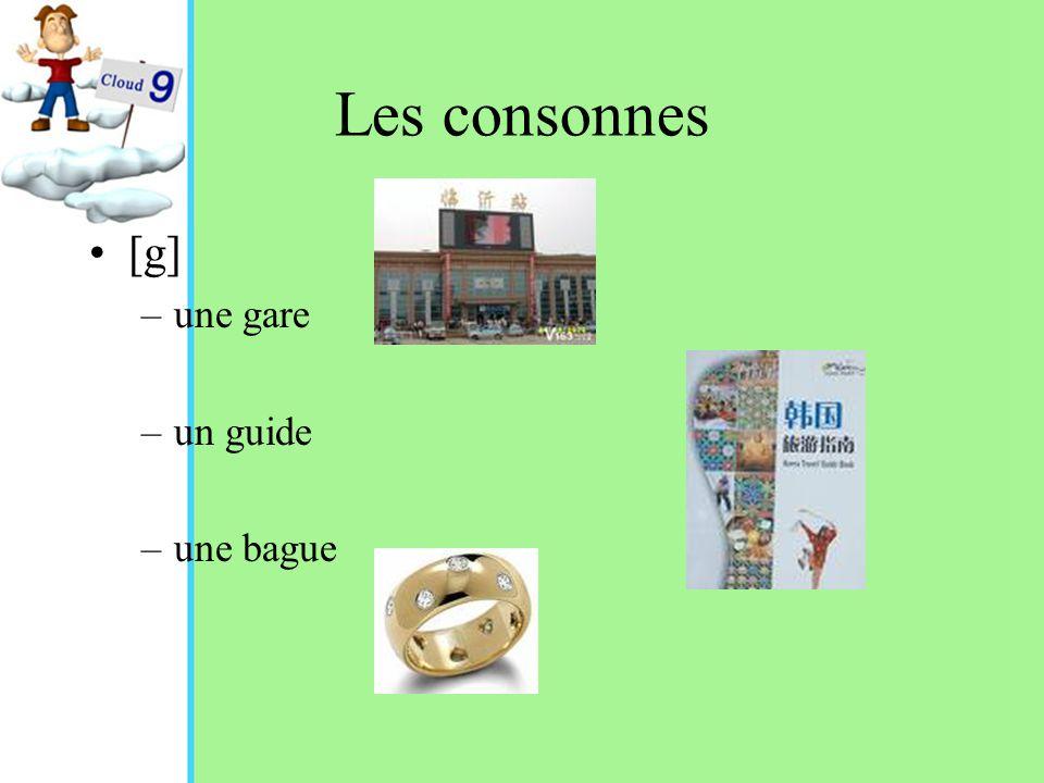 Les consonnes [g] –une gare –un guide –une bague